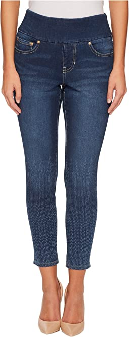 Petite Nora Skinny Ankle Pull-On Jeans w/ Laser Print in Dot Stripe