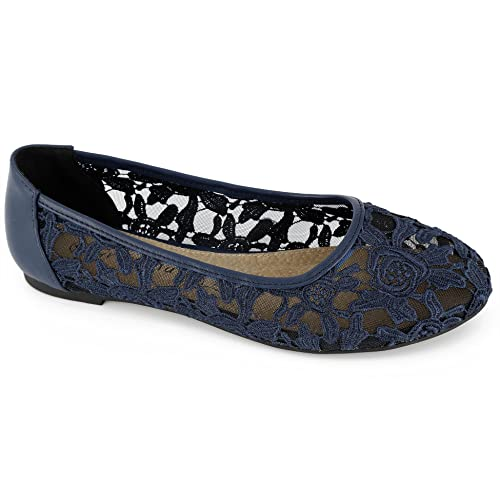 super popular ab601 29eee Greatonu Women Shoes Cut Out Slip On Synthetic Lace Ballet Flats