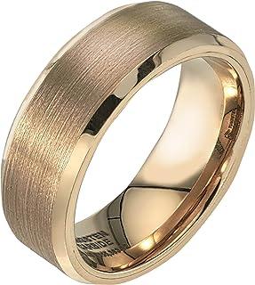 خاتم رجالي أصفر من مادة التنجستين 8 مم بلمسة نهائية من الساتان من AX Jewelry