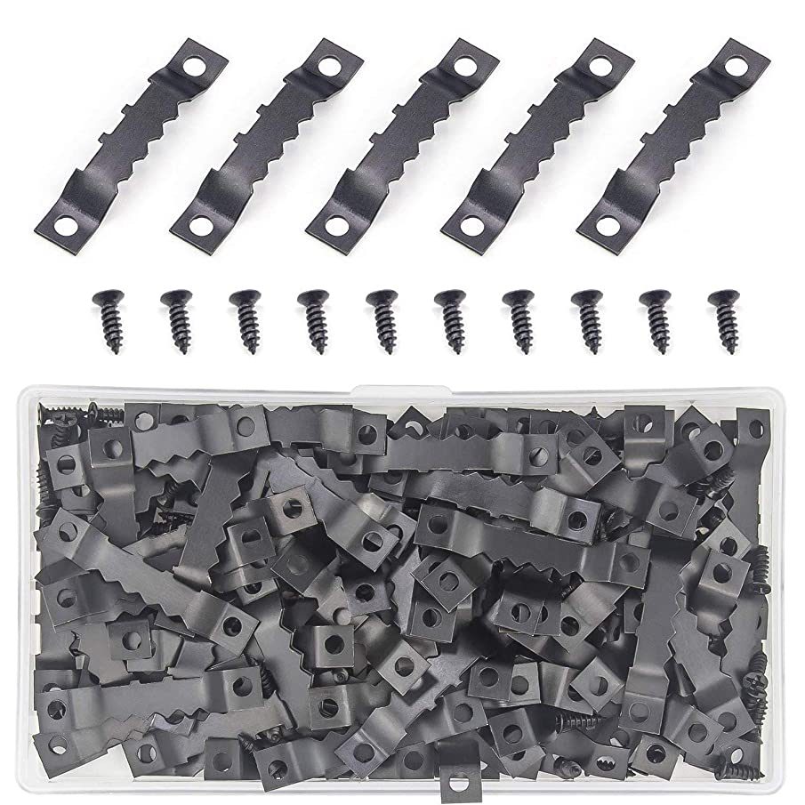 Sutemribor 128 Pcs Sawtooth Picture Frame Hanging Hangers Double Hole with Screws, for Home Decoration Creative Picture Frame Hanging (Black)