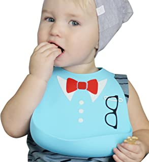 Nuby On-The-Go 3-D Silicone Feeding Bib, Blue Bow Tie