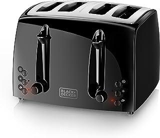 BLACK+DECKER TR1410BD tostadora de 4 rebanadas, extra ancha, negra