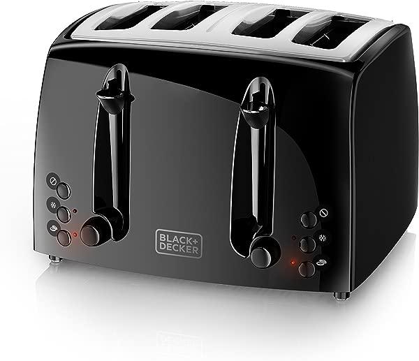 BLACK DECKER 4 Slice Toaster Extra Wide Black TR1410BD