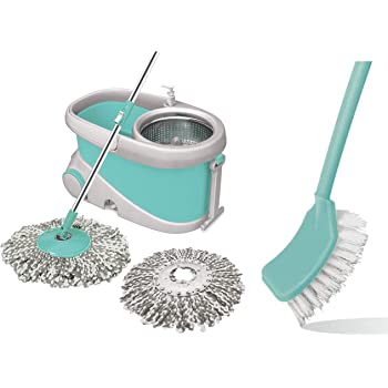 Spotzero by Milton Prime Mop with Big Wheels and Stainless Steel Wringer (Aqua green, 2 refills) & Single Side Bristle Toilet Plastic Brush (Aqual Green) Combo
