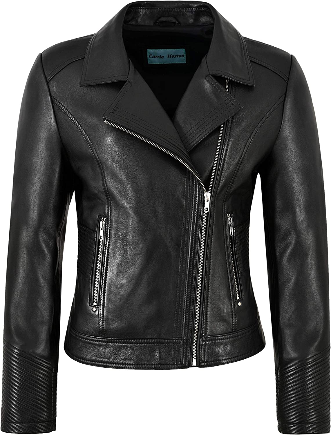 Carrie CH Hoxton Felpa Ladies Biker Style Jacket Black Soft Lambskin Quilted Sleeves Fashion 2225