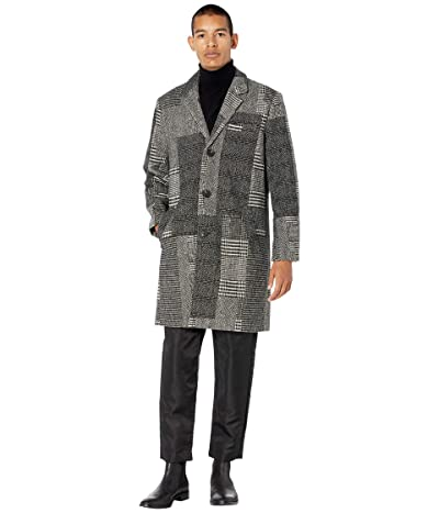 NATIVE YOUTH Stanley Patchwork Wool Check Overcoat (Grey) Men