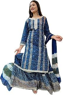 Blue Bollywood Cocktail Party Wear Indian Women Reyon Straight Sharara Garara Kurti Nazmeen Dupatta Muslim Dress