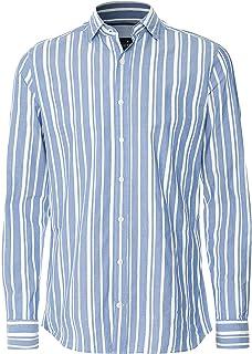 Hackett Men's Cotton Linen Wide Stripe Shirt Blue
