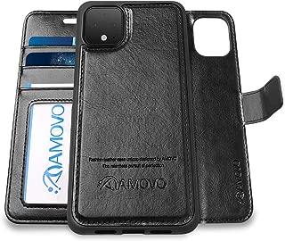 Pixel 4XL Wallet Case [2 in 1] AMOVO Vegan Leather Case for Google Pixel 4 XL [Detachable Folio] [Wristlet] [Stand Feature] [Magnetic Clasp] Google 4XL Flip Case Gift Box Package (Pixel 4XL, Black)