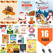 Warmfits Garden Flags, Set of 16 Premium Quality Yard Holiday and Seasonal Decorative Flags Small Garden Outdoor Decorative Flags - Double Sided Colorful Design for All Seasons & Holidays- 12 x 18 in
