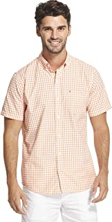 IZOD Men's Breeze Short Sleeve Button Down Gingham Shirt
