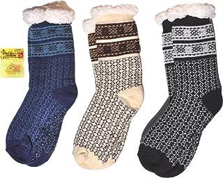 Set of 3 Mens Non Slip Warm Cozy Indoor House Slipper Socks