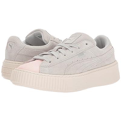Puma Kids Suede Platform Glam (Little Kid) (Pearl/Glacier Grey) Girls Shoes