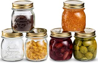 Bormioli Rocco Quattro Stagioni Glass Mason Jars 8.5 Ounce Mini Jars (6-Pack) with Metal Airtight Lid, For Jam, Jelly, baby food, Crafts, Spices, Dry Food Storage, Wedding favors, Decorating Jar