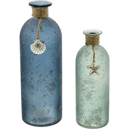 Série 2 vases de déco, couleur bleu et vert, verre satiné avec des tâches blanches, décoré de ficelle de sisal, petites étoiles de mer et de coquillages, ne pas mettre au lave-vaisselle