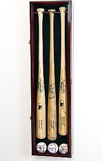 3 Baseball Bat Display Case Cabinet Holder Wall Rack w/UV Protection - Lockable -Cherry