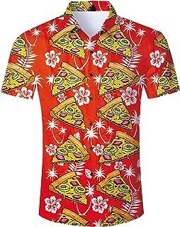 2952558a Fanient Mens Summer Hawaiian Shirt 3D Floral Print Short Sleeve Funky  Button Down Graphic Aloha Dress