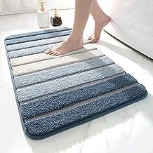 "DEXI Bath Mat for Bathroom Absorbent Rug Non-Slip Low Profile Shower Tub Mats 20""x32"",Navy Blue"