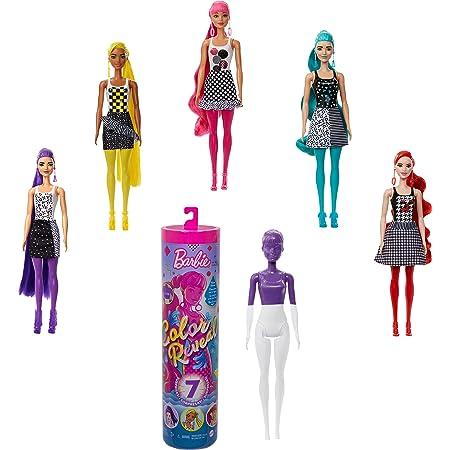 Barbie Color Reveal -Serie Monocolor, Bambola con 7 Sorprese, Assortimento Casuale, Giocattolo per Bambini 3+ Anni, GTR94