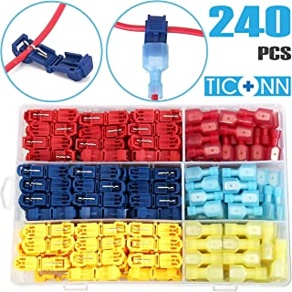 TICONN 240PCS T-Tap Wire Connectors, Self-Stripping Quick Splice Electrical Wire..