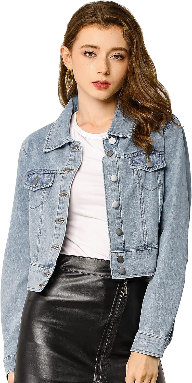 Allegra K Women's Casual Crop Button Down Basic Washed Jean Denim Jacket