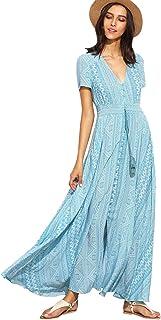 ef7e798a38e7f Milumia Women Floral Print Button Up Split Flowy Party Maxi Dress