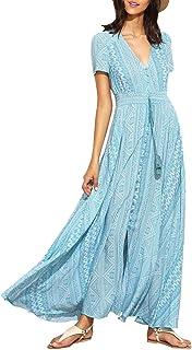 Milumia Women's Button Up Split Floral Print Flowy Lady Party Maxi Dress Light Blue
