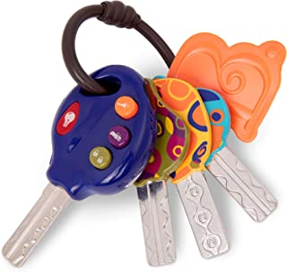 B. toys by Battat 4 Textured Toy Car Keys for Babies & Toddlers – LucKeys – Blue – Flashlight & 3 Car Sounds – Non-Toxic –...