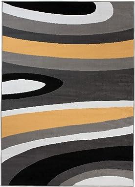 TAPISO Maya Tapis de Salon Moderne, pour séjour, Jaune, Gris, Vagues, Abstraits à Poils Courts, 140 x 200 cm