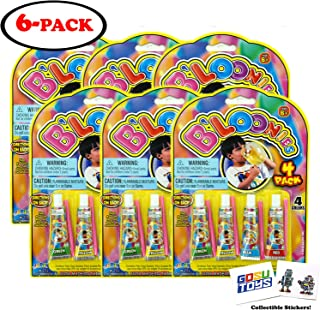 B'Loonies 4 Pack (6 Count) 6 Packs of 4 (24 Total) B'Loonies Four Colors - Green, Yellow, Blue, Red Blow up with 2 GosuToys Stickers
