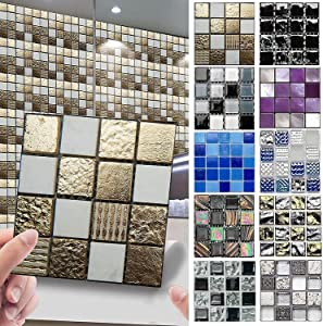 10-Sheet Peel and Stick Tile Backsplash, Vinyl 3D DIY Tile Stickers, Self-Adhesive Decorative Stickers Wallpaper Wall Home Decor, Removable Wallpaper for Kitchen Bathroom(10PCS,3.94 X 3.94 inches)