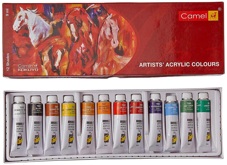 Camel Camlin Kokuyo Caja de color acrílico – Tubos de 9 ml, 12 ...
