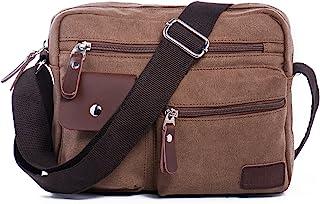 Hengwin Canvas Shoulder Bag Small Men's Messenger Bag Shoulder Travel Bag Leisure Bag Handbag with Multiple Compartments Fits iPad Mini Brown