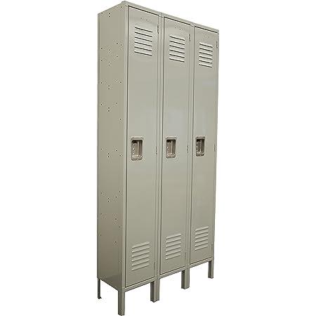 One Tier Locker 6 Feet High 3 Wide Unit W 3 Doors With Louvers 12w X 18d X 78h Unassembled Gray Metal Locker Perfect As A School Locker Gym Locker