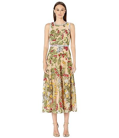 ML Monique Lhuillier Floral Embroidery Sleeveless Midi Dress (Nude Multi) Women