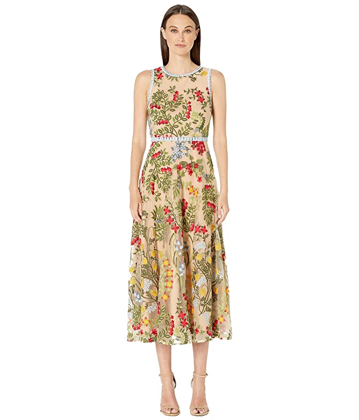 ML Monique Lhuillier Floral Embroidery Sleeveless Midi Dress (Nude Multi) Women