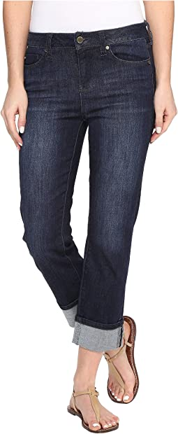 "Gwen ""Wide Cuff"" Capris Vintage Super Comfort Stretch Denim in Vintage Super Dark"
