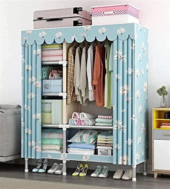 Chests Home Simple Wardrobe Bedroom Wardrobe Storage Cloth Full Steel Frame Bold Thick Cloth Cover Rental Home Sturdy Hanging