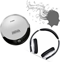 Coby portable compact CD player With bonus I-kool Freeze Ultimate headphones (silver/White)