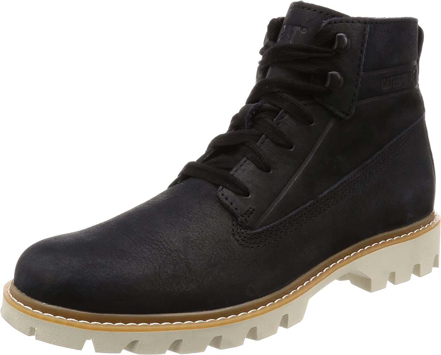 Caterpillar Men Black Leather 'Basis' Lace Up Boots