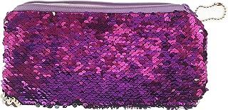 Okayji Magic Mermaid Sequin Cosmetic Bag Flip Double Color Handbag Pouch Glitter Pencil Case, 1- Piece (Purple)