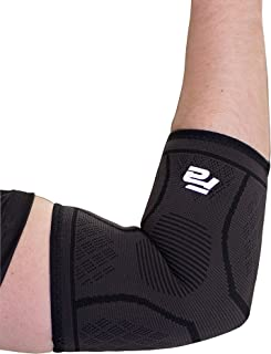 Fit Active Sports Elbow Arm Brace Compression Sleeve | Tendonitis, Epicondylitis, Golf, Tennis, Gym Recovery Support Band for Men and Women | Great for Pain Relief, Workout, Weight Lifting | Black