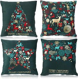 Verde Elegante Cojines Almohadas Fundas de Feliz Navidad Añ