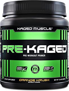 KAGED MUSCLE, PRE-KAGED Pre Workout Powder, L-Citrulline + Creatine HCl, Boost Energy, Focus, Workout Intensity, Pre-Workout, Orange Krush, 20 Servings