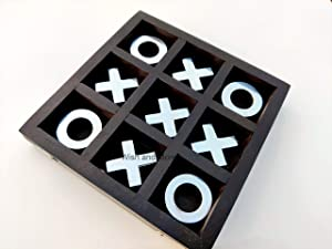 Wish and More Tic Tac Toe Board Game for Adults/Children, Indoor/Outdoor Games, Classic Coffee Table Home Decor for Living Room, Size 4.5 x 4.5 inch Small