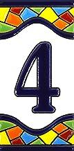 Huisnummer. Borden met cijfers en nummers op keramische kachel. Handgeschilderde koordtechniek voor borden met naam, adres...