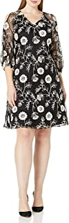 Julian Taylor Womens 55861L Plus Size Floral Printed Lace 3/4 Puf Sleeve Shift Dress Three-Quarter-Sleeve Dress - Black