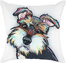 (Cd-Go-w1) - Redland Art Cute Pet Schnauzer Dog Pattern Cotton Polyester Throw Pillow Case Car Sofa Cushion Cover Home Decor 46cm x 46cm