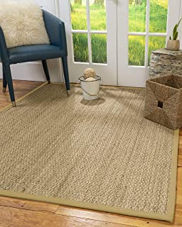 NaturalAreaRugs Mayfair Area Rug Natural Seagrass Hand-Crafted Khaki Wide Canvas Border, 4' x 6'