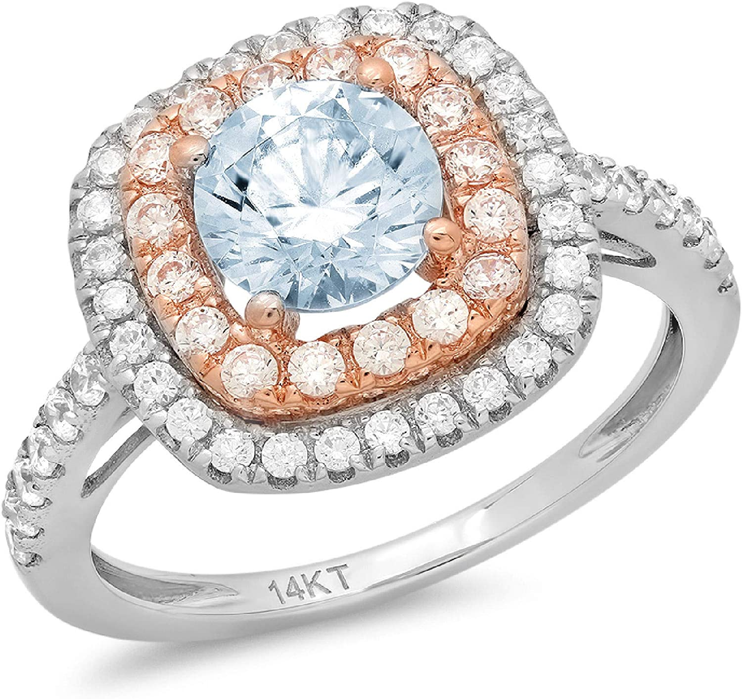 Max 79% OFF 1.69ct NEW Round Cut Solitaire double Halo Topaz Natural Blue Ge Sky